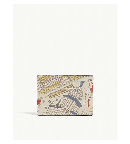 BURBERRY Icon London-print leather card holder (Multi