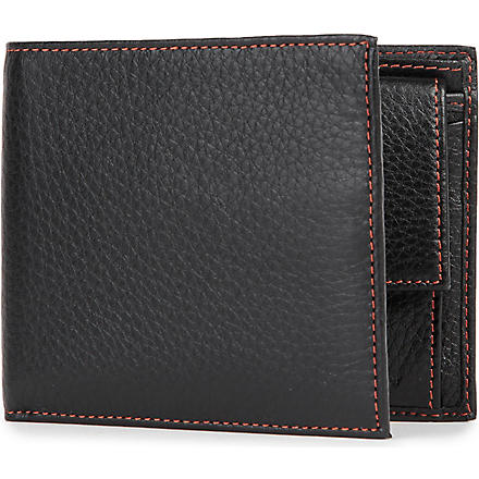 SIMON CARTER Cinnamon-stitched soft leather wallet (Black