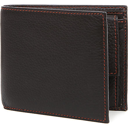 SIMON CARTER Cinnamon-stitched soft-leather wallet (Brown