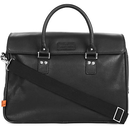 SIMON CARTER Lewes leather laptop bag (Black
