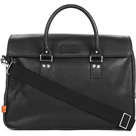 SIMON CARTER Lewes leather laptop bag (Black