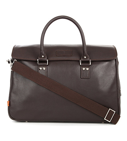 SIMON CARTER Lewes leather laptop bag (Brown