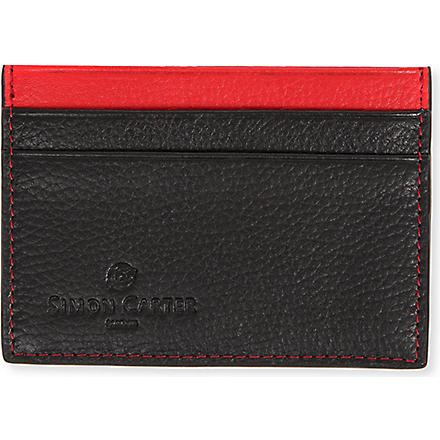 SIMON CARTER Colour-top leather card holder (Red