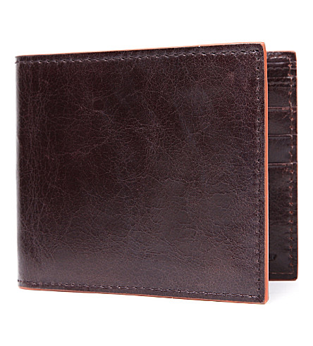 SIMON CARTER Cinnamon-edge leather wallet (Brown