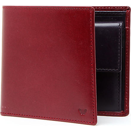DUCHAMP Contrast-colour leather coin wallet (Pimento