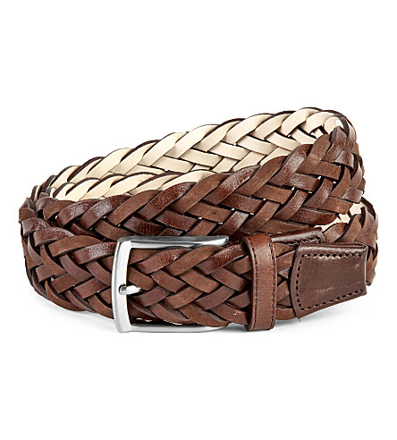 DUCHAMP Plaited leather belt (Brown