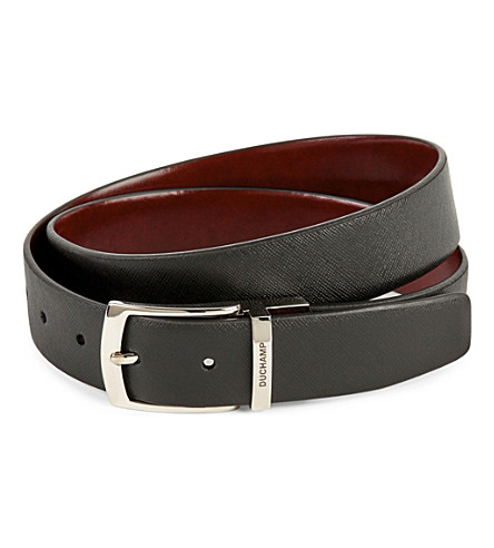 DUCHAMP Reversible textured leather belt (Black
