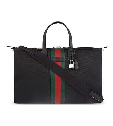 GUCCI Techno canvas duffle bag (Black+/+red