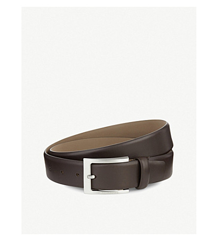 HUGO BOSS Barnabie leather belt (Dark+brown