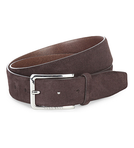 HUGO BOSS Cansian suede belt (Brown