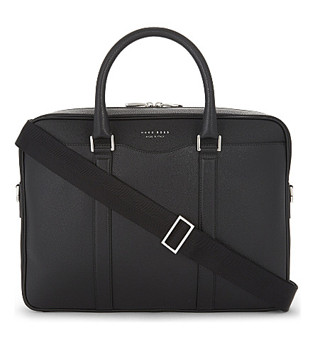 BOSS Signature leather briefcase (Black
