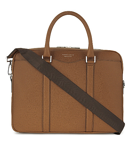 BOSS Signature leather briefcase (Pastel+brown