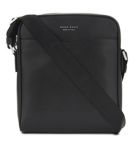 BOSS Signature Leather Cross-Body Bag in Black