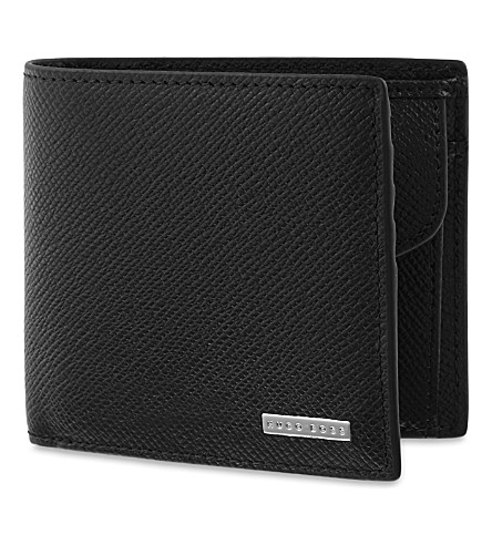BOSS Signature textured leather coin wallet (Black