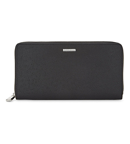 BOSS Signature textured leather wallet (Black
