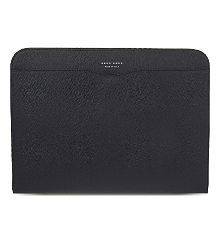 BOSS Signature leather portfolio (Black