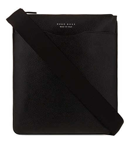 BOSS Signature leather messenger bag (Black
