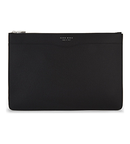 BOSS Grained leather filo pouch (Black