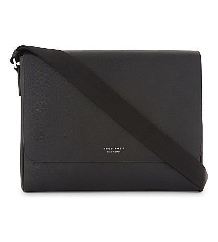 BOSS Signature leather messenger (Black