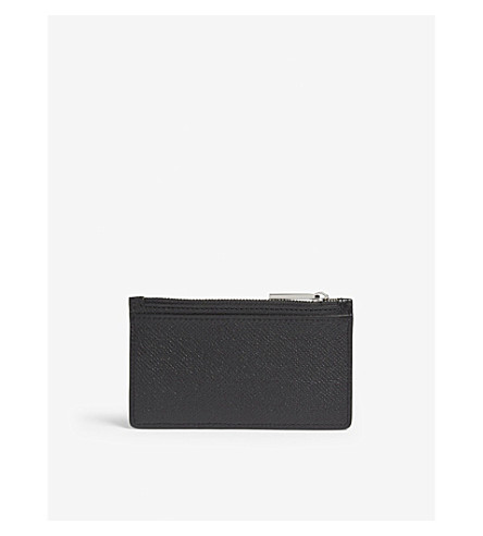 BOSS Signature Leather Zipped Card Holder in Black