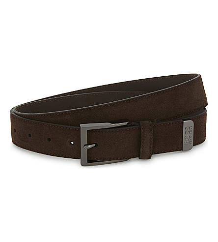 BOSS Sefonio suede belt (Dark+brown