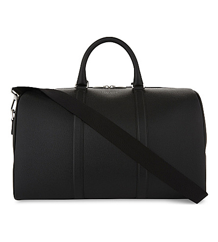BOSS Signature Leather Holdall in Black