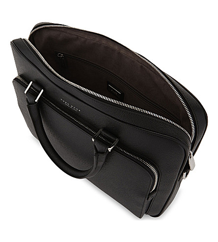 BOSS Signature Slim Leather Briefcase in Black