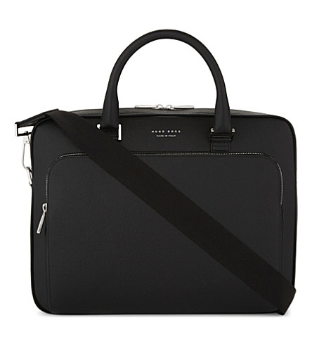 BOSS Signature slim leather briefcase (Black