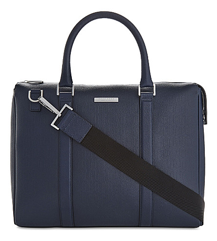 BOSS Signature Leather Messenger Bag in Navy