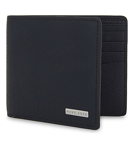 BOSS Signature leather billfold wallet (Navy