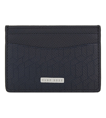 BOSS Signature leather card holder (Navy