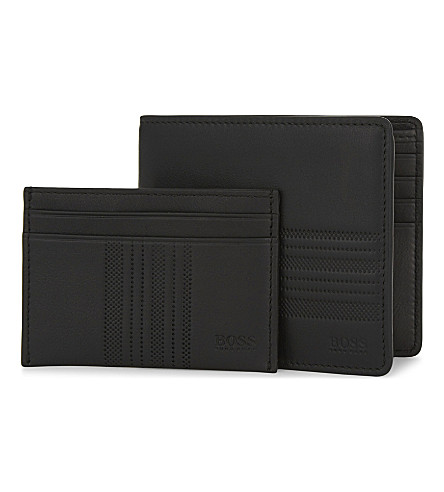 BOSS Stripe-embossed leather wallet and card holder set (Black