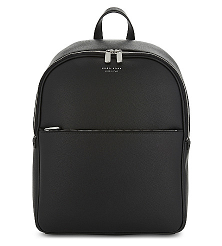 BOSS Signature textured leather backpack (Black
