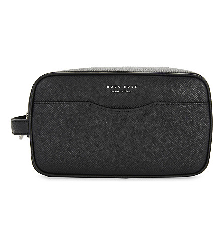 BOSS Textured leather washbag (Black