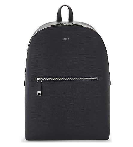 BOSS Timeless textured-leather backpack (Navy