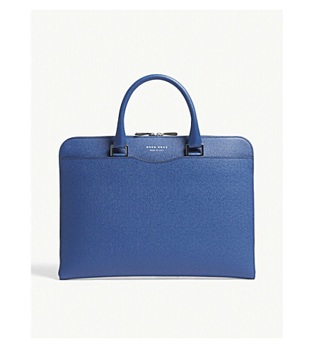 BOSS Signature leather briefcase (Bright+blue