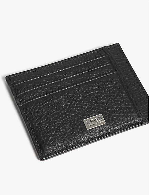 BOSS Crosstown grained leather card holder