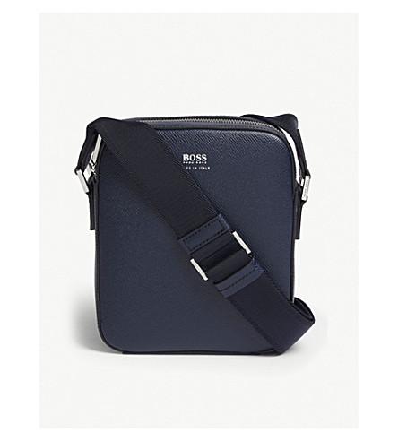 BOSS签名交叉体袋 (深色 + 蓝色