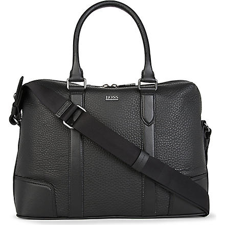 HUGO BOSS Bario leather laptop bag (Black