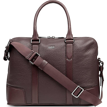 HUGO BOSS Bario leather laptop bag (Red