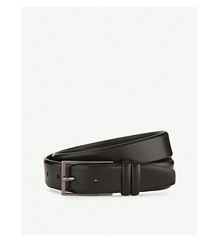 HUGO BOSS Brushed leather belt (Black