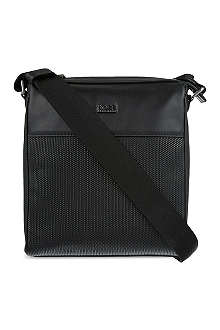 HUGO BOSS Printed leather reporter bag