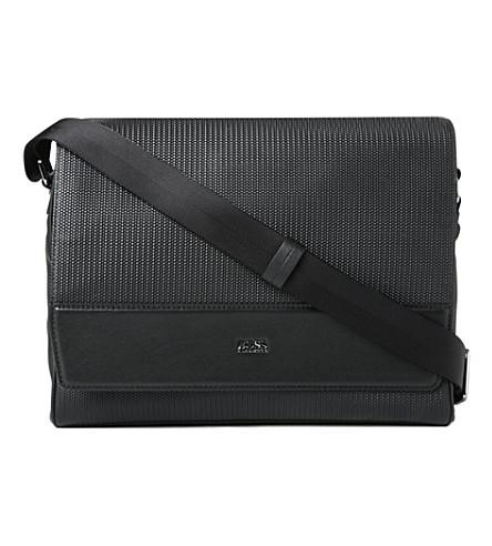 HUGO BOSS Disclosy leather messenger bag (Black