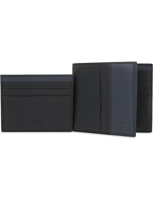 HUGO BOSS Leather wallet and card holder set