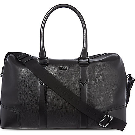 HUGO BOSS Soft leather weekender (Black