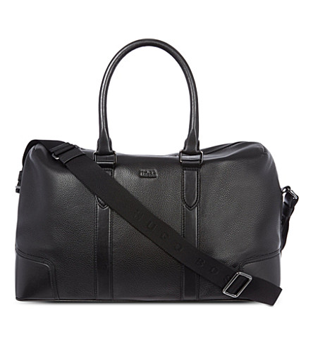 HUGO BOSS Soft leather weekender (Black
