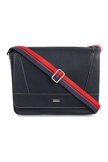 HUGO BOSS Plain leather messenger bag