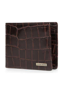 HUGO BOSS Embossed crocodile style leather wallet