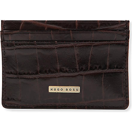 HUGO BOSS Crocodile style leather card holder (Brown