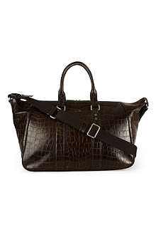 HUGO BOSS Orinto croc-embossed leather weekender